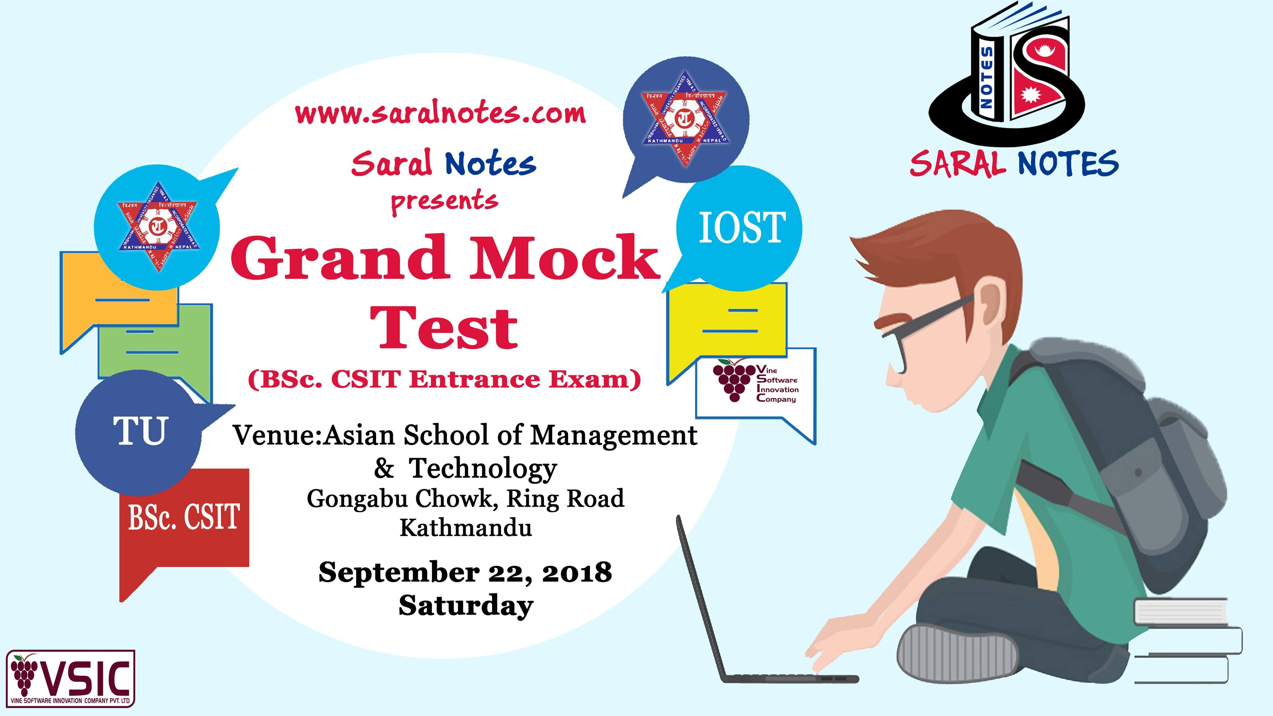 Grand Mock Test ( BSc. CSIT Entrance)